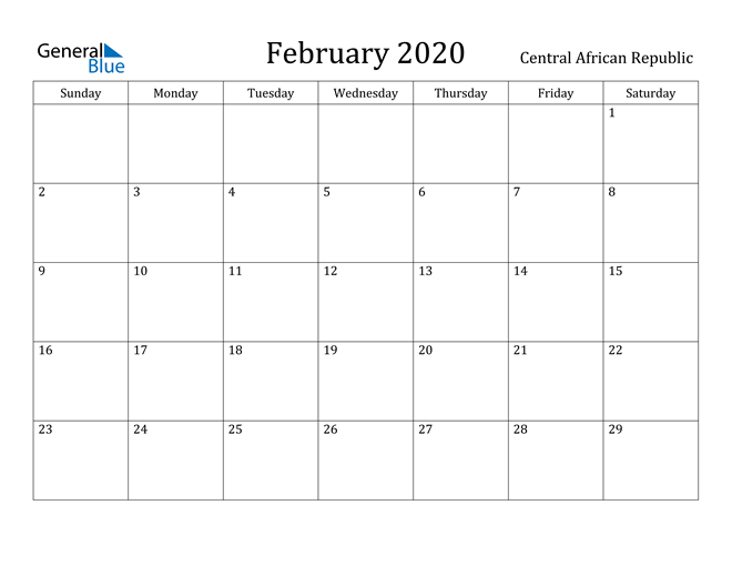 Image of February 2020 Central African Republic Calendar with Holidays Calendar