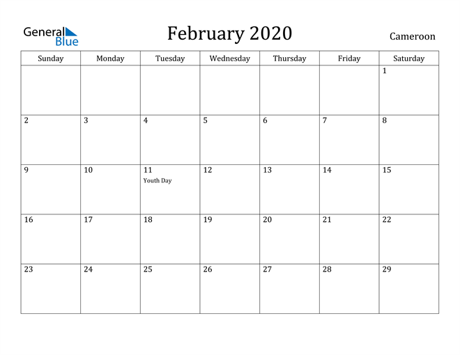 Image of February 2020 Cameroon Calendar with Holidays Calendar