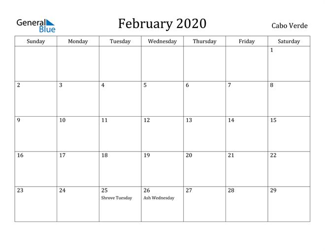 Image of February 2020 Cabo Verde Calendar with Holidays Calendar