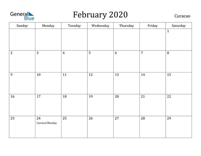 Image of February 2020 Curacao Calendar with Holidays Calendar