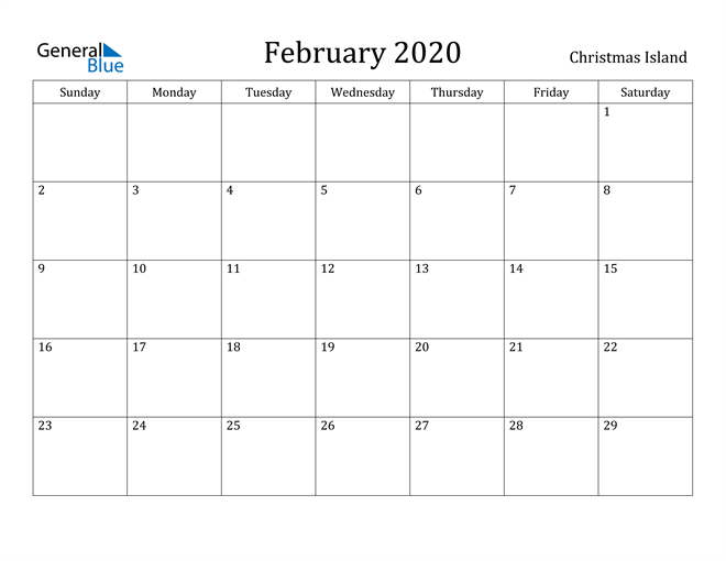 Image of February 2020 Christmas Island Calendar with Holidays Calendar