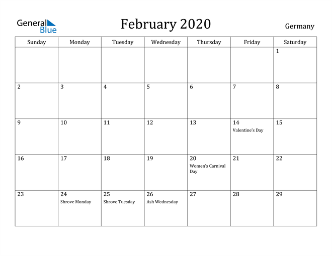 Image of February 2020 Germany Calendar with Holidays Calendar