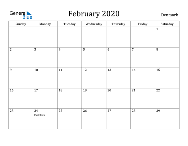 Image of February 2020 Denmark Calendar with Holidays Calendar