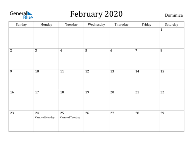 Image of February 2020 Dominica Calendar with Holidays Calendar