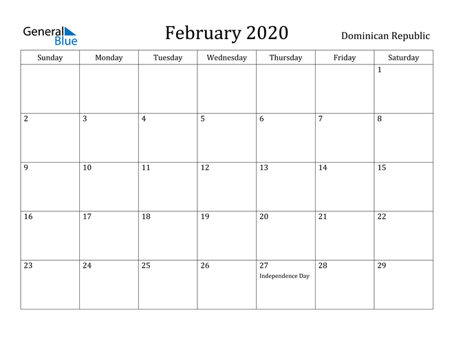 Image of February 2020 Dominican Republic Calendar with Holidays Calendar