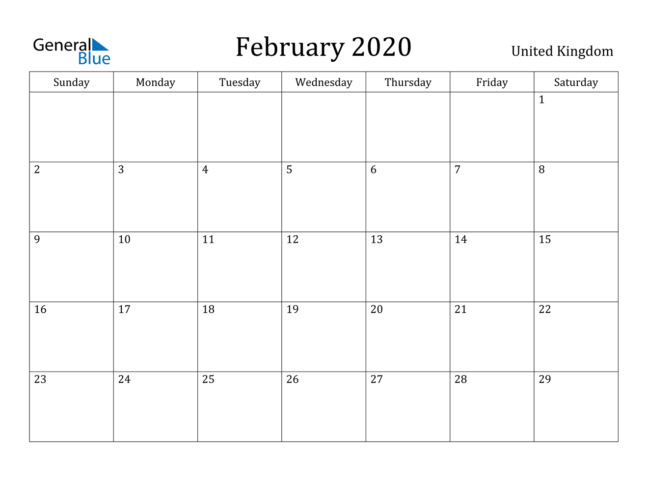 Image of February 2020 United Kingdom Calendar with Holidays Calendar
