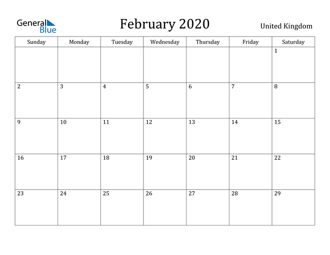 Image of February 2020 United Kingdom Calendar with Holidays Calendar