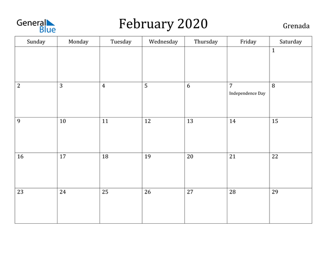 Image of February 2020 Grenada Calendar with Holidays Calendar