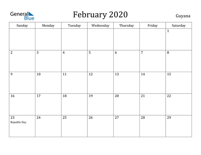 Image of February 2020 Guyana Calendar with Holidays Calendar