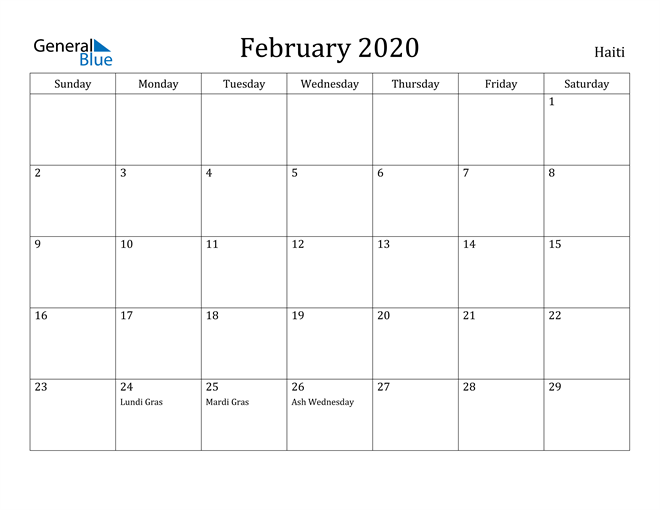 Image of February 2020 Haiti Calendar with Holidays Calendar