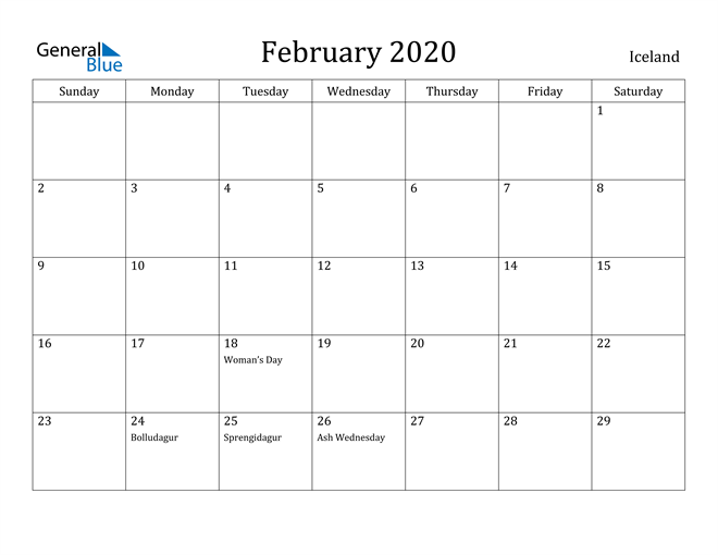 Image of February 2020 Iceland Calendar with Holidays Calendar
