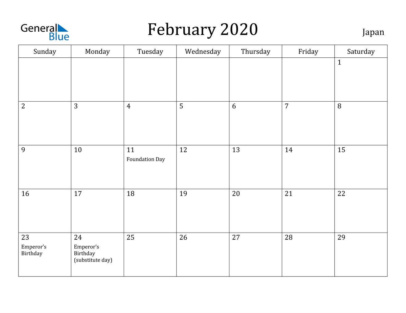Image of February 2020 Japan Calendar with Holidays Calendar