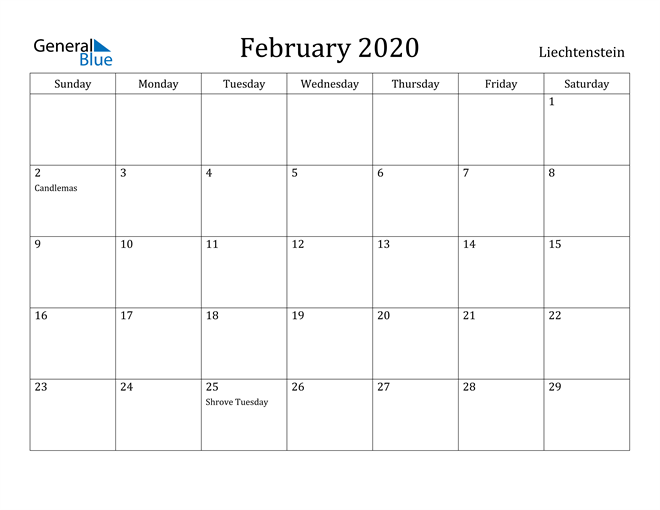 Image of February 2020 Liechtenstein Calendar with Holidays Calendar