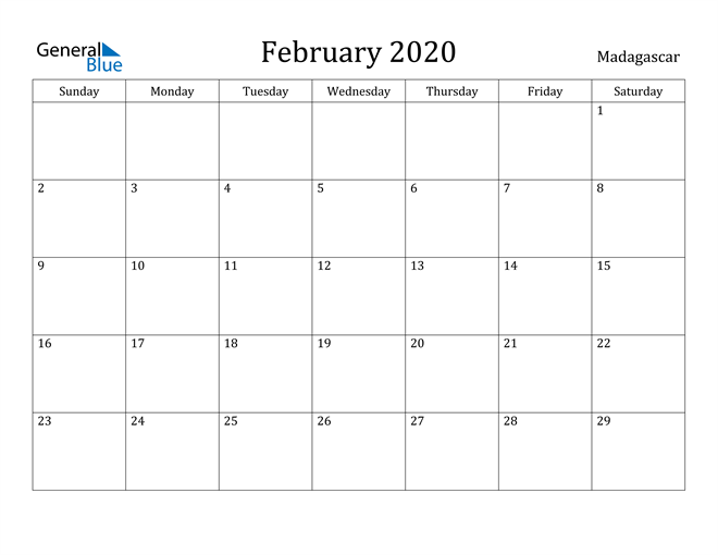 Image of February 2020 Madagascar Calendar with Holidays Calendar