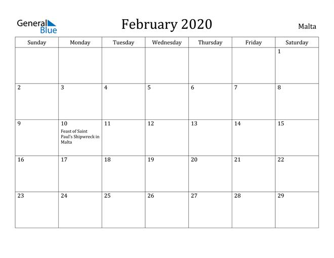 Image of February 2020 Malta Calendar with Holidays Calendar