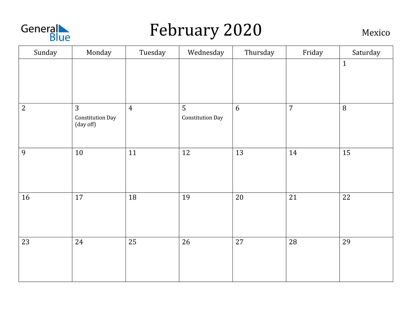 Image of February 2020 Mexico Calendar with Holidays Calendar
