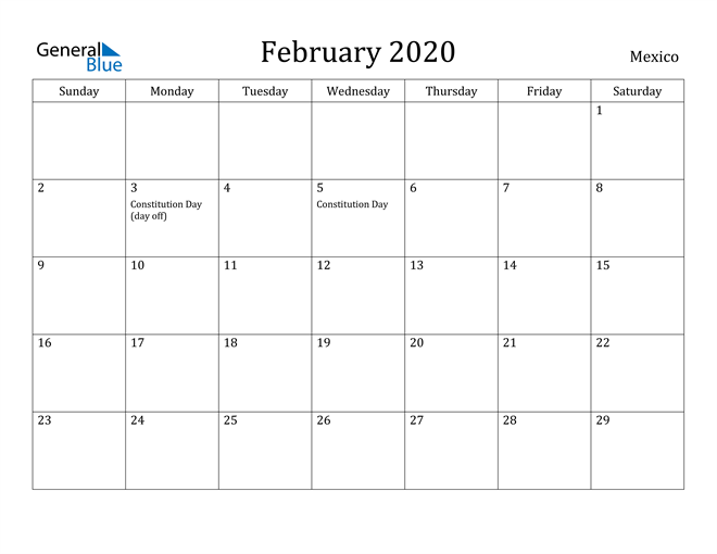 Image of February 2020 Mexico Calendar with Holidays Calendar