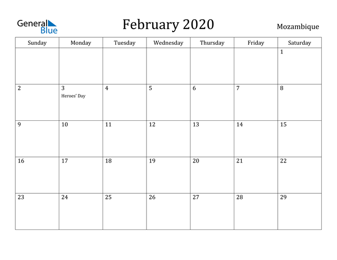 Image of February 2020 Mozambique Calendar with Holidays Calendar