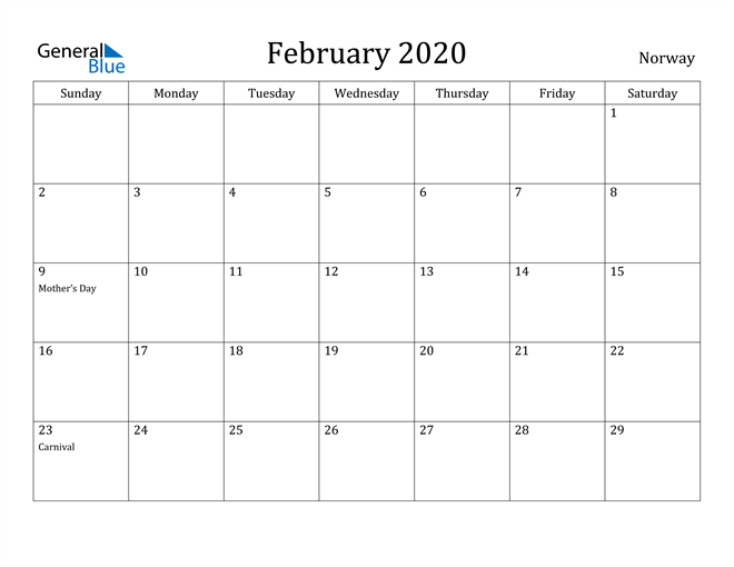Image of February 2020 Norway Calendar with Holidays Calendar