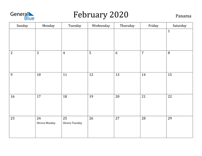 Image of February 2020 Panama Calendar with Holidays Calendar