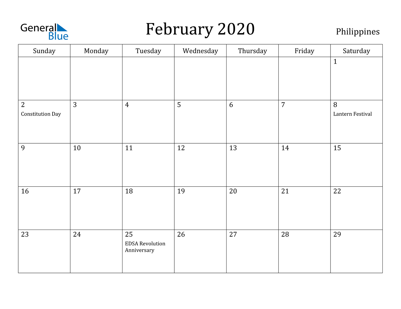 Image of February 2020 Philippines Calendar with Holidays Calendar