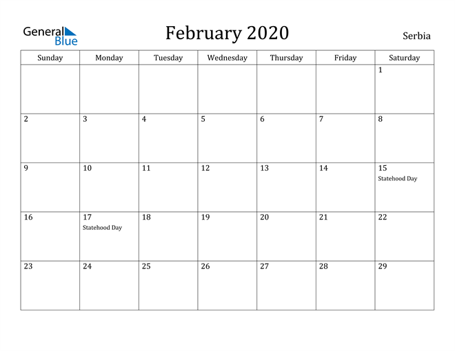Image of February 2020 Serbia Calendar with Holidays Calendar
