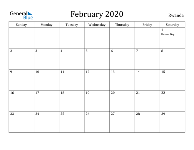 Image of February 2020 Rwanda Calendar with Holidays Calendar