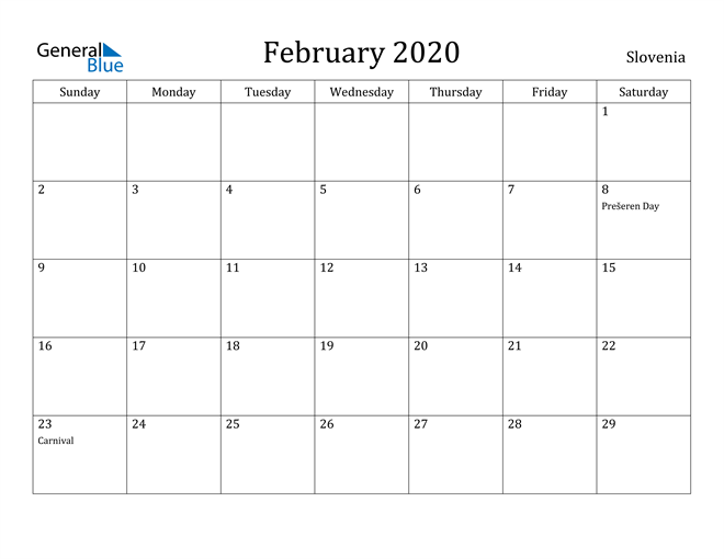 Image of February 2020 Slovenia Calendar with Holidays Calendar