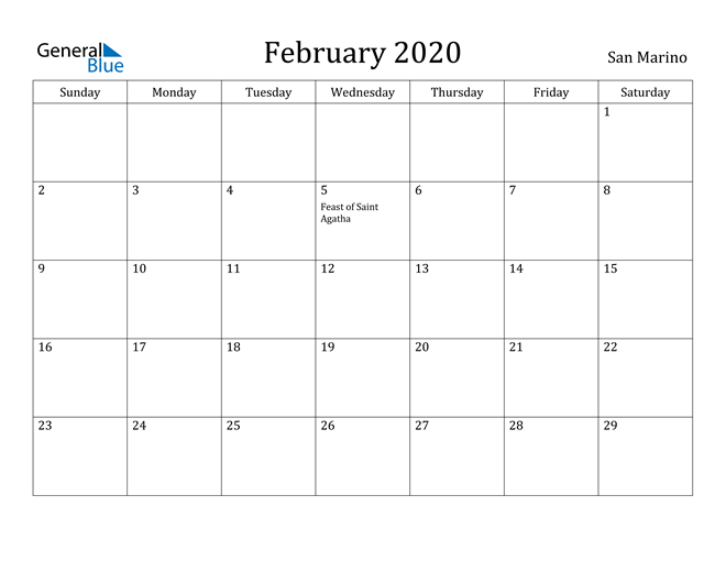 Image of February 2020 San Marino Calendar with Holidays Calendar