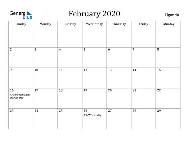 Image of February 2020 Uganda Calendar with Holidays Calendar