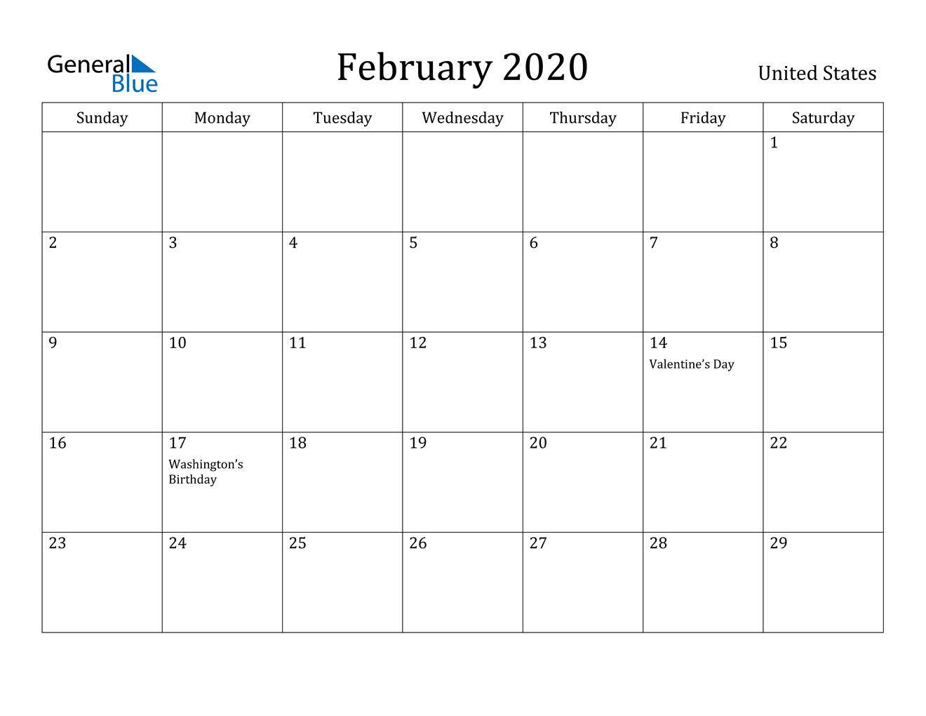 Image of February 2020 United States Calendar with Holidays Calendar