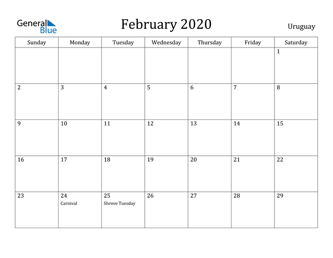Image of February 2020 Uruguay Calendar with Holidays Calendar