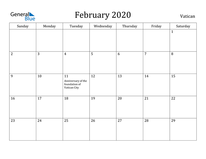 Image of February 2020 Vatican Calendar with Holidays Calendar