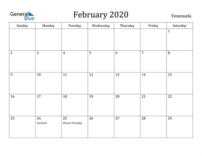 Image of February 2020 Venezuela Calendar with Holidays Calendar