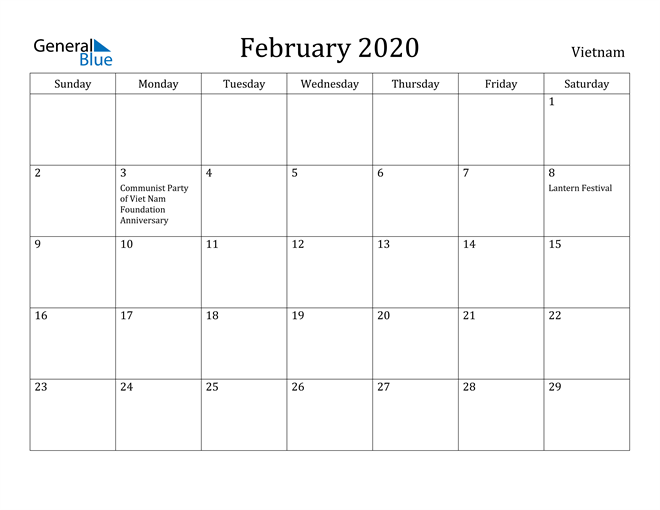Image of February 2020 Vietnam Calendar with Holidays Calendar