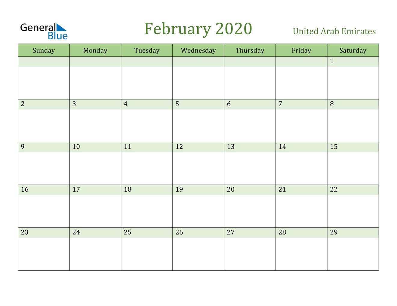 Image of February 2020 Cool and Relaxing Green Calendar Calendar