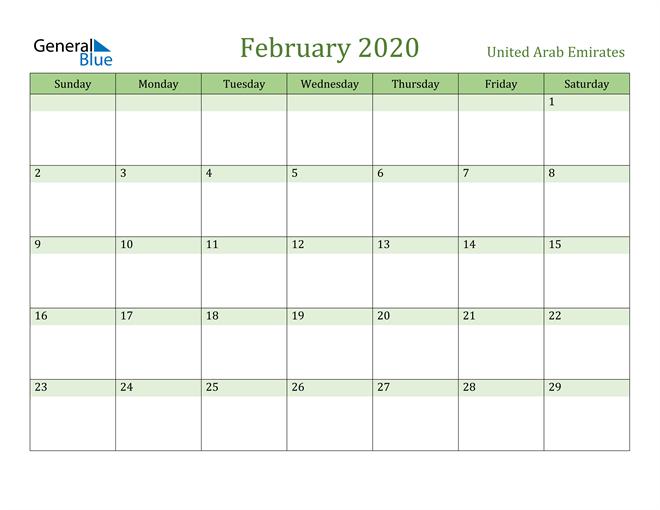 February 2020 Calendar with United Arab Emirates Holidays