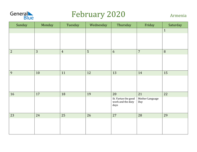 February 2020 Calendar with Armenia Holidays