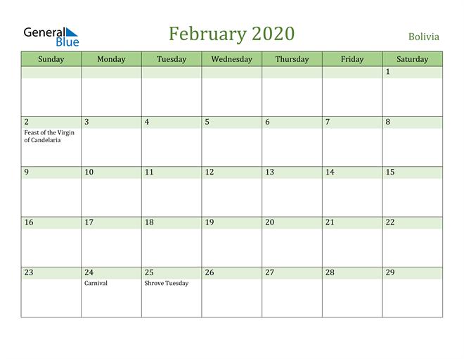 February 2020 Calendar with Bolivia Holidays