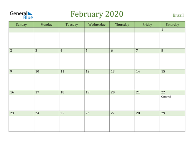 February 2020 Calendar with Brazil Holidays