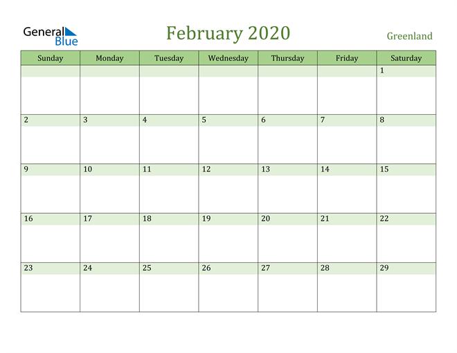 February 2020 Calendar with Greenland Holidays