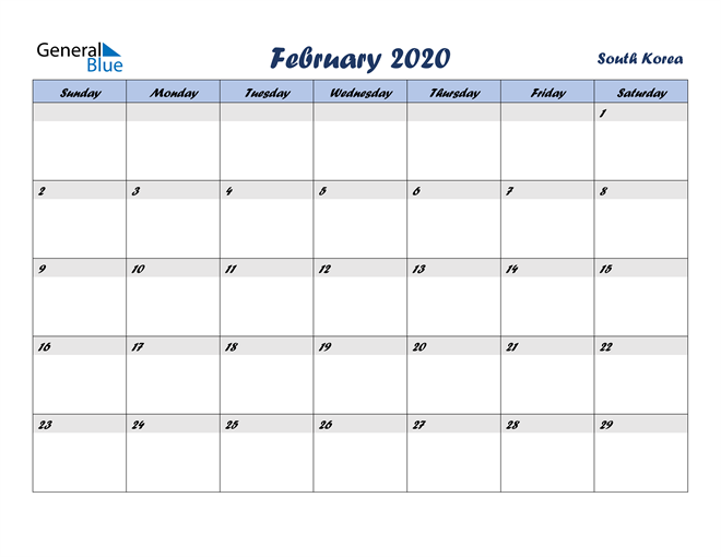 Image of February 2020 Italicized and Cool Blue, A Fun Calendar in PDF, Word and Excel Calendar