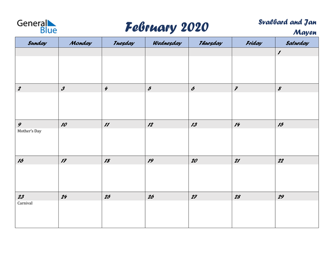 February 2020 Italicized and Cool Blue, A Fun Calendar in PDF, Word and Excel Calendar