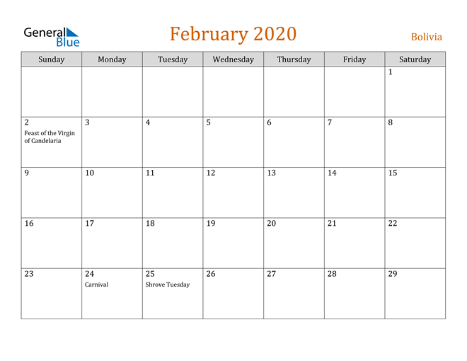 February 2020 Holiday Calendar