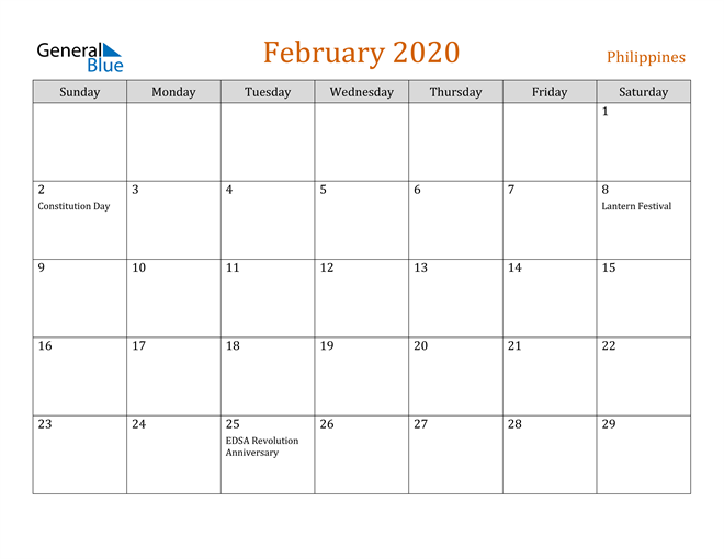 Image of February 2020 Contemporary Orange PDF, Word and Excel Calendar Calendar