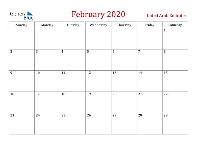 United Arab Emirates February 2020 Calendar