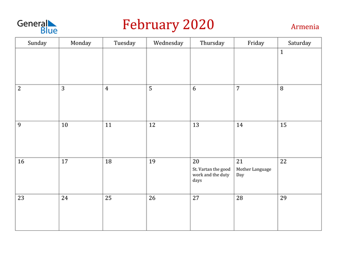 Armenia February 2020 Calendar