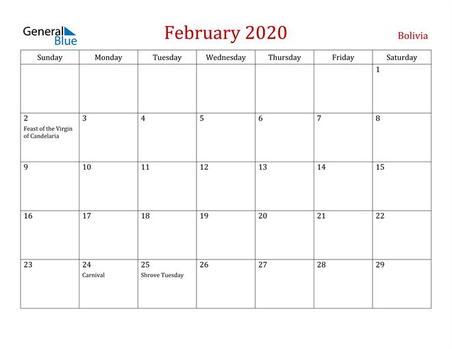 Bolivia February 2020 Calendar