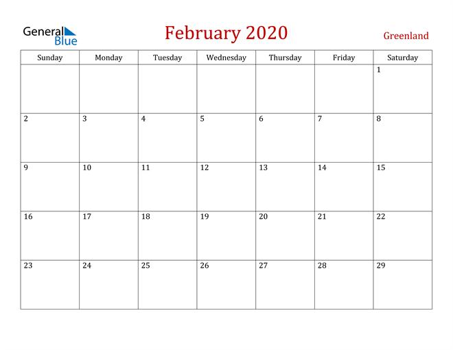 Greenland February 2020 Calendar