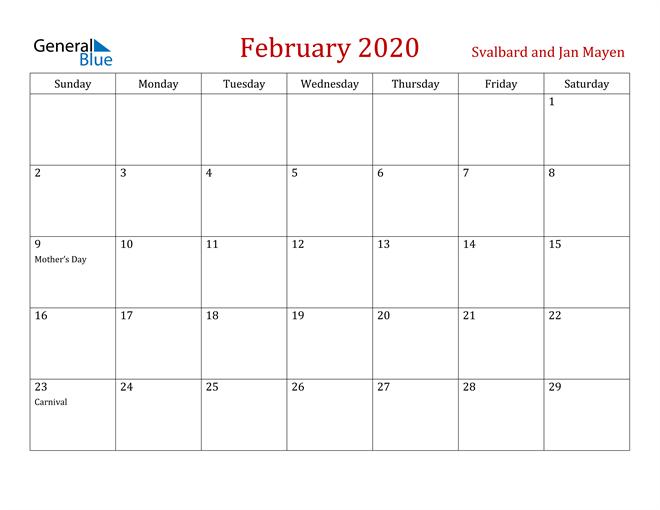 February 2020 Dark and Red Professional Office Calendar Calendar